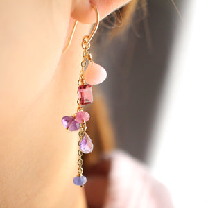 Very Berry Mixed Gemstone Asymmetric Earrings