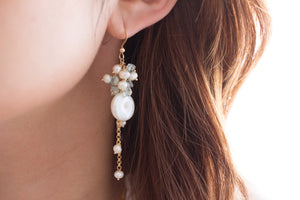 The Aspen Aquamarine and Coin Pearl Cascade Earrings