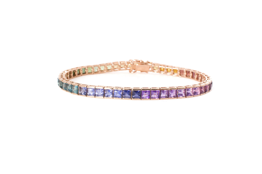 women's rainbow gemstone tennis bracelet