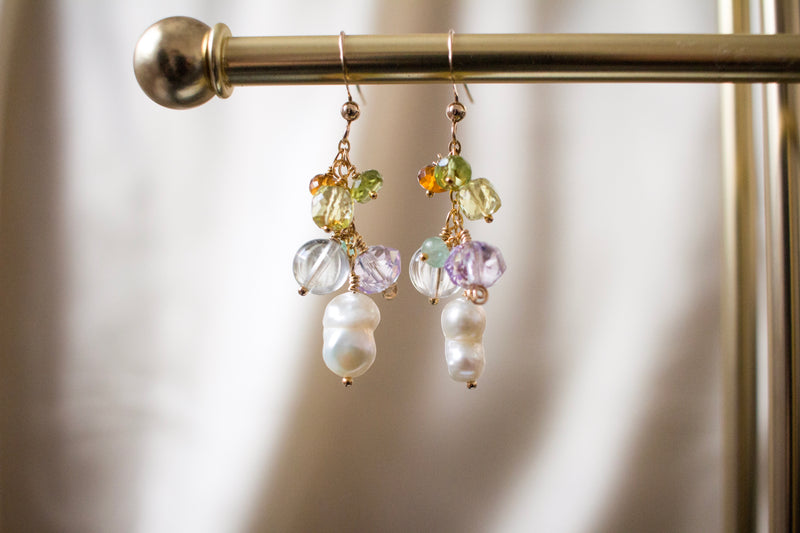 Twin Peanut Pearls and Gemstone Earrings