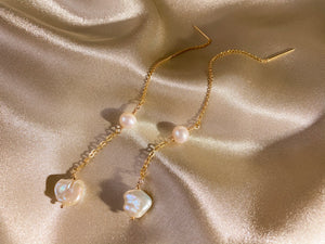 Keshi baroque pearl 14KGF gold drop threader earrings