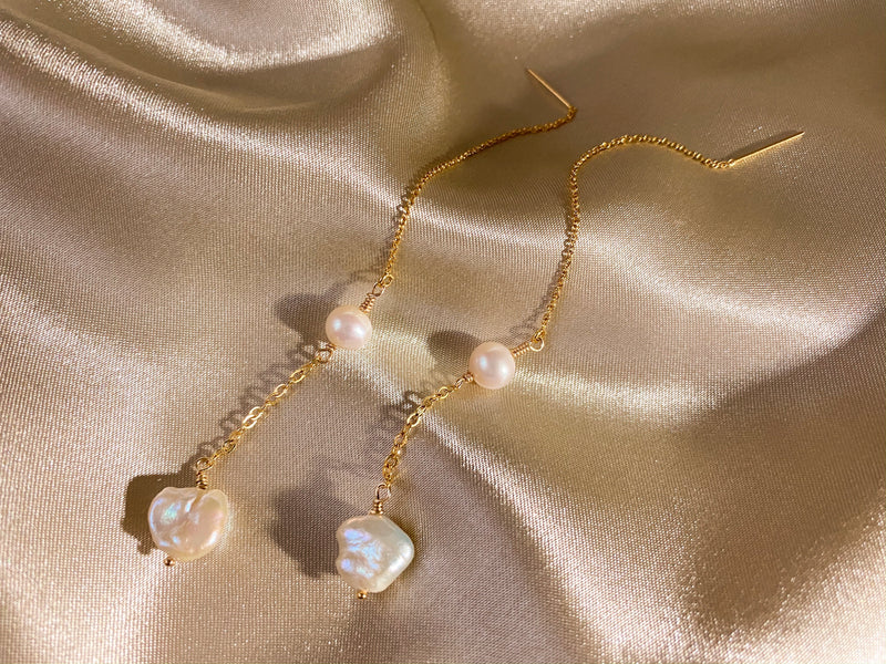 Keshi Pearl Drop Threader Earrings