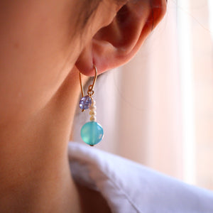 Bubbles Tanzanite and Blue Chalcedony Earrings