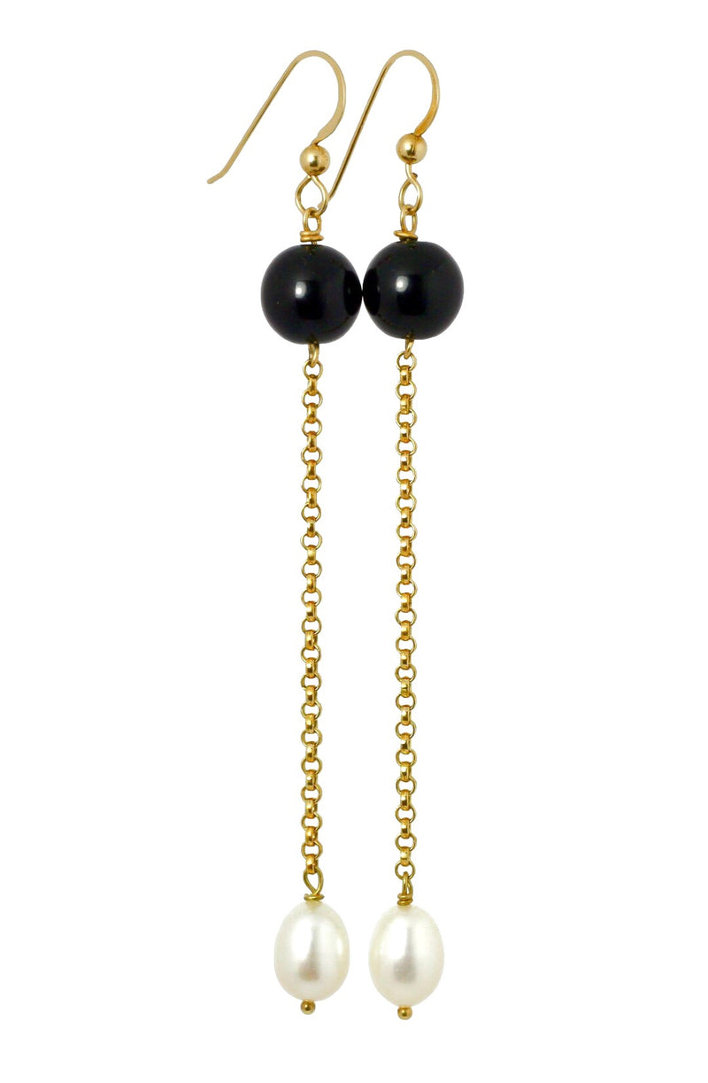 Black Onyx and Pearl Drop Earrings