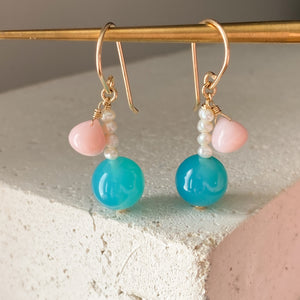 Bubbles Blue Chalcedony and Pearl Earrings