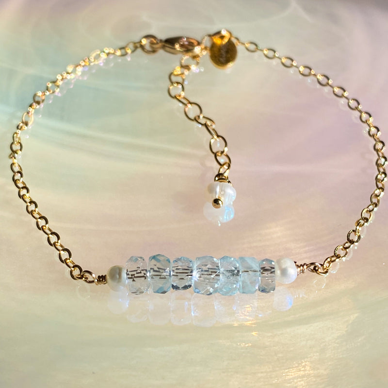 Aquamarine Bar Stacking Bracelet