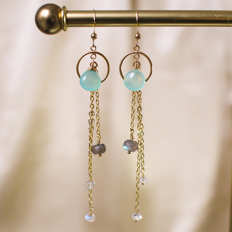 Brett Aqua Chalcedony and Moonstone Drop Earrings