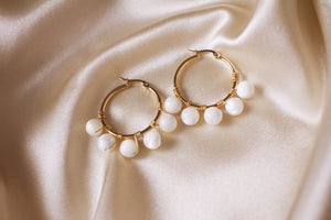 Everly Small Mother of Pearl Hoop Earrings
