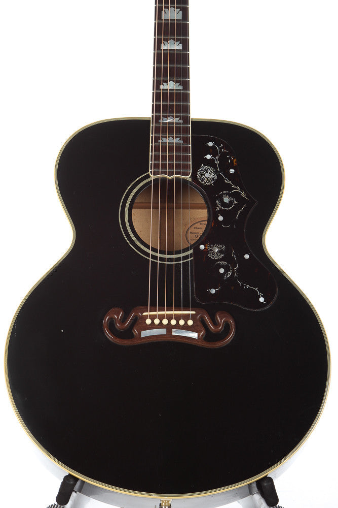 1990 gibson j 200 acoustic guitar ebony guitar chimp. Black Bedroom Furniture Sets. Home Design Ideas
