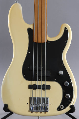 1974 Fender P Bass Fretless Olympic White Maple Fingerboard