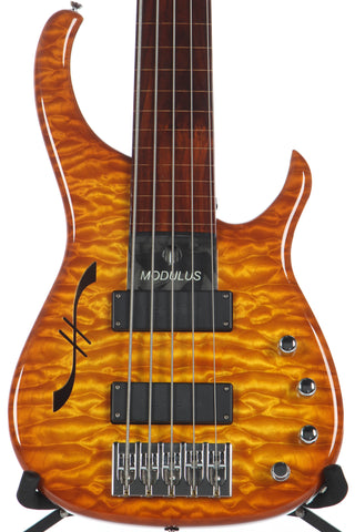 2006 Modulus Quantum Q 5 String Fretless Semi-Hollow Bass Guitar -RARE-