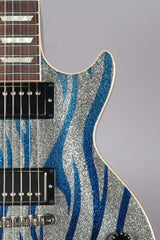 2008 Gibson Custom Shop Les Paul Standard Silver Sparkle With Blue Flames