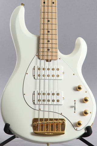 2015 Ernie Ball Music Man Stingray 5 HH 5-String Bass Guitar Ivory White ~Matching Headstock~