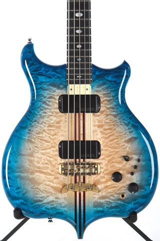 1990 Alembic Distallate 5 String Bass Caribbean Blue Burst Quilt Top -34