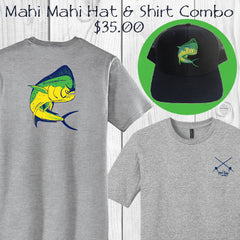 Mahi fishing cotton short sleeve t-shirt and trucker hat combo - only $35.00