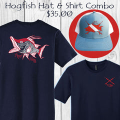 "Hogfish ""Reef Hog"" cotton short sleeve t-shirt and trucker hat combo - only $35.00"