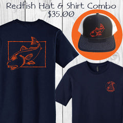 Redfish fishing cotton short sleeve t-shirt and trucker hat combo - only $35.00