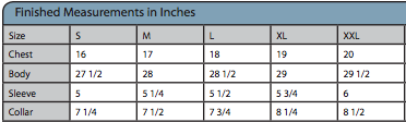 Ladies V-neck Tee Size Chart