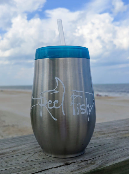 Wine Stainless Steel Tumblers, 10oz Bev2Go Stemless Wine Traveler with Reel Fishy Tarpon Decal