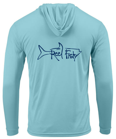 Aqua Blue Tarpon Hoodie Performance Dry-Fit Fishing Long Sleeve Shirts, 50+ UPF Sun Protection  - Reel Fishy Apparel