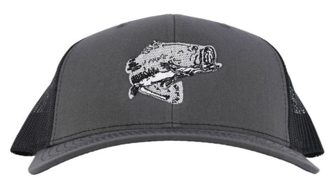 "Bass Fishing ""Reel Hawg"" Structured Trucker Hat - Charcoal/Black Mesh"
