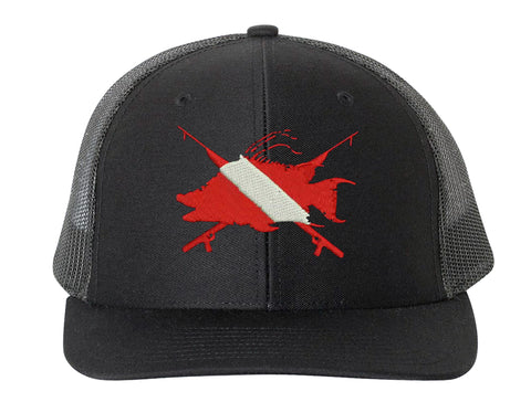 Hogfish Dive Spears Structured Black Solid Trucker Hat