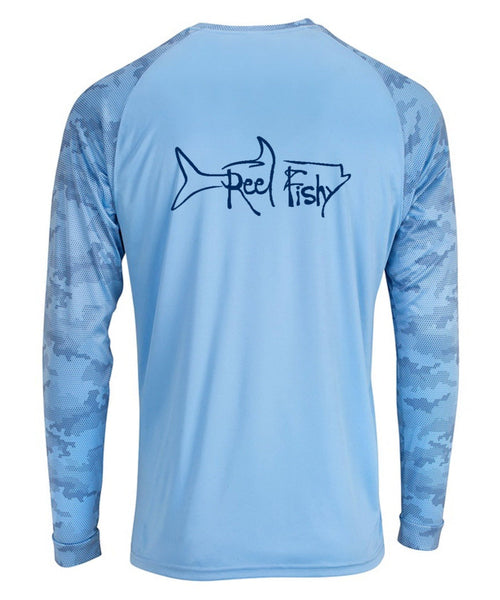 Tarpon Digital Camo Performance Dry-Fit Fishing Long Sleeve Shirts with 50+ UPF Sun Protection - Blue Mist