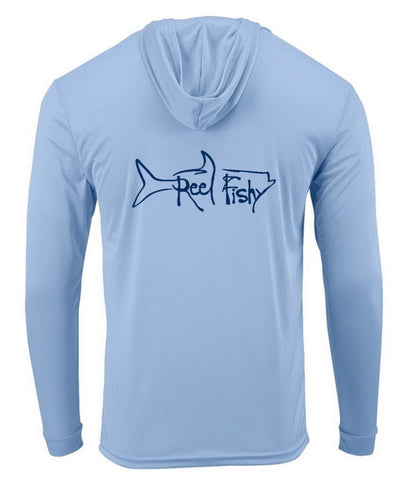 Blue Mist Tarpon Hoodie Performance Dry-Fit Fishing Long Sleeve Shirts, 50+ UPF Sun Protection  - Reel Fishy Apparel