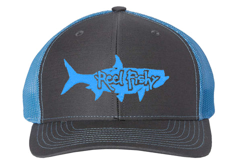 Charcoal/Blue Trucker hat with Blue Tarpon Logo