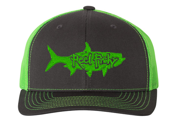 Charcoal/Neon Green Trucker hat with Neon Green Tarpon Logo