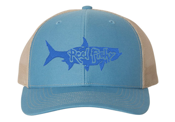 Colonial Blue/Khaki Trucker Hat with Blue Tarpon Reel Fishy Logo