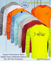 Tarpon Digital Camo Performance Dry-Fit Fishing Long Sleeve Shirts with 50+ UPF Sun Protection
