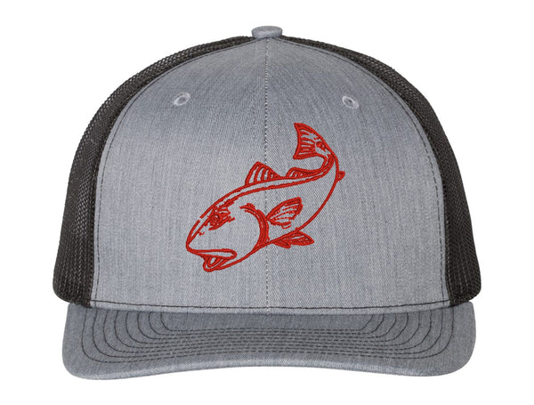 Redfish Heather Gray/Black mesh Structured Trucker Hat w/Red logo