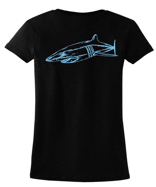 Ladies Mako Shark V-neck Tee in Black