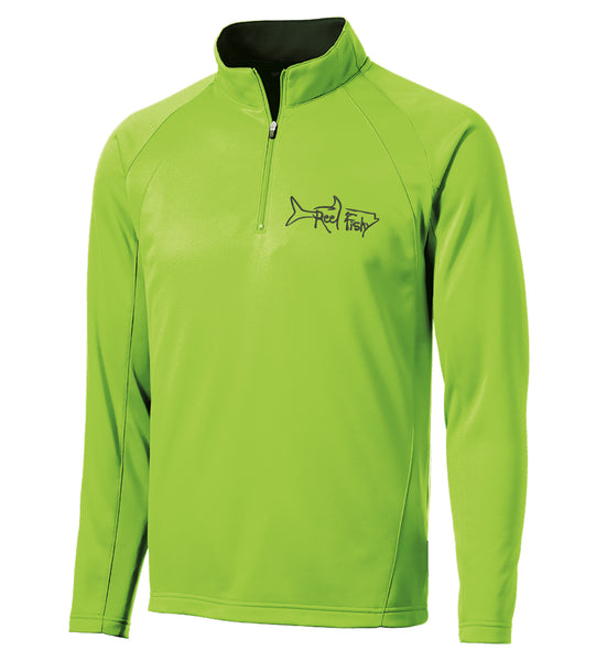 Lime Green ¼-Zip Pullover Jacket with Reel Fishy Tarpon Embroidered Logo
