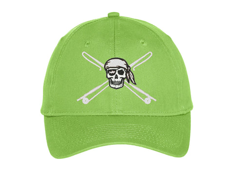 Youth Fishing Hats with Reel Fishy Pirate Skull & Rods Logo - Lime Green