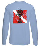 "Lobster Performance Dry-Fit Fishing shirts with Sun Protection - ""Bug Tickler"" Dive Logo - Lt. Blue Long Sleeve"