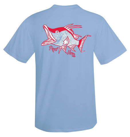 Lt Blue Short Sleeve Hogfish Performance Dry-Fit Sun Protection Shirt with 50+ UV Protection by Reel Fishy Apparel