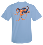 Octopus Performance Dry-Fit Short Sleeve - Lt Blue w/Orange logo
