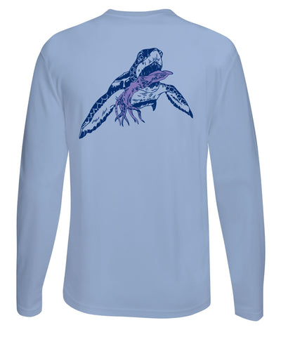 Turtle with Squid Performance Fishing Dry-Fit Long Sleeve with Sun Protection - Lt. Blue