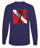 "Lobster Performance Dry-Fit Fishing shirts with Sun Protection - ""Bug Tickler"" Dive Logo - Navy Long Sleeve"
