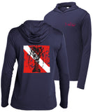 "Lobster Performance Dry-Fit Hoody Fishing shirts with Sun Protection - ""Bug Tickler"" Dive Logo - Navy Long Sleeve Hoody"