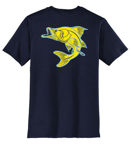 New! Navy Snook Fishing Cotton T-shirt short sleeves by Reel Fishy Apparel