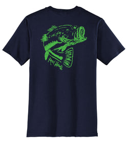 "Bass ""Reel Hawg"" Navy Cotton Short Sleeve Crew T-shirt by Reel Fishy"