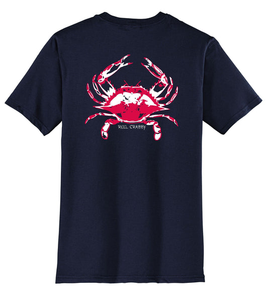 "Navy Blue Crab Cotton Short Sleeve ""Reel Crabby"" - Reel Fishy Apparel"