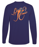 Octopus Performance Dry-Fit Long Sleeve - Navy w/Orange logo