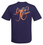 Octopus Performance Dry-Fit Short Sleeve - Navy w/Orange logo