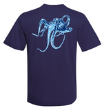 Octopus Performance Dry-Fit Short Sleeve - Navy w/Lt Blue logo