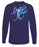Octopus Performance Dry-Fit Long Sleeve - Navy w/Lt Blue logo