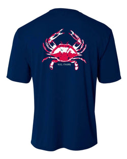 "Navy Youth Crab ""Reel Crabby"" Short Sleeve Performance Dry-Fit Shirts with Sun Protection by Reel Fishy Apparel"
